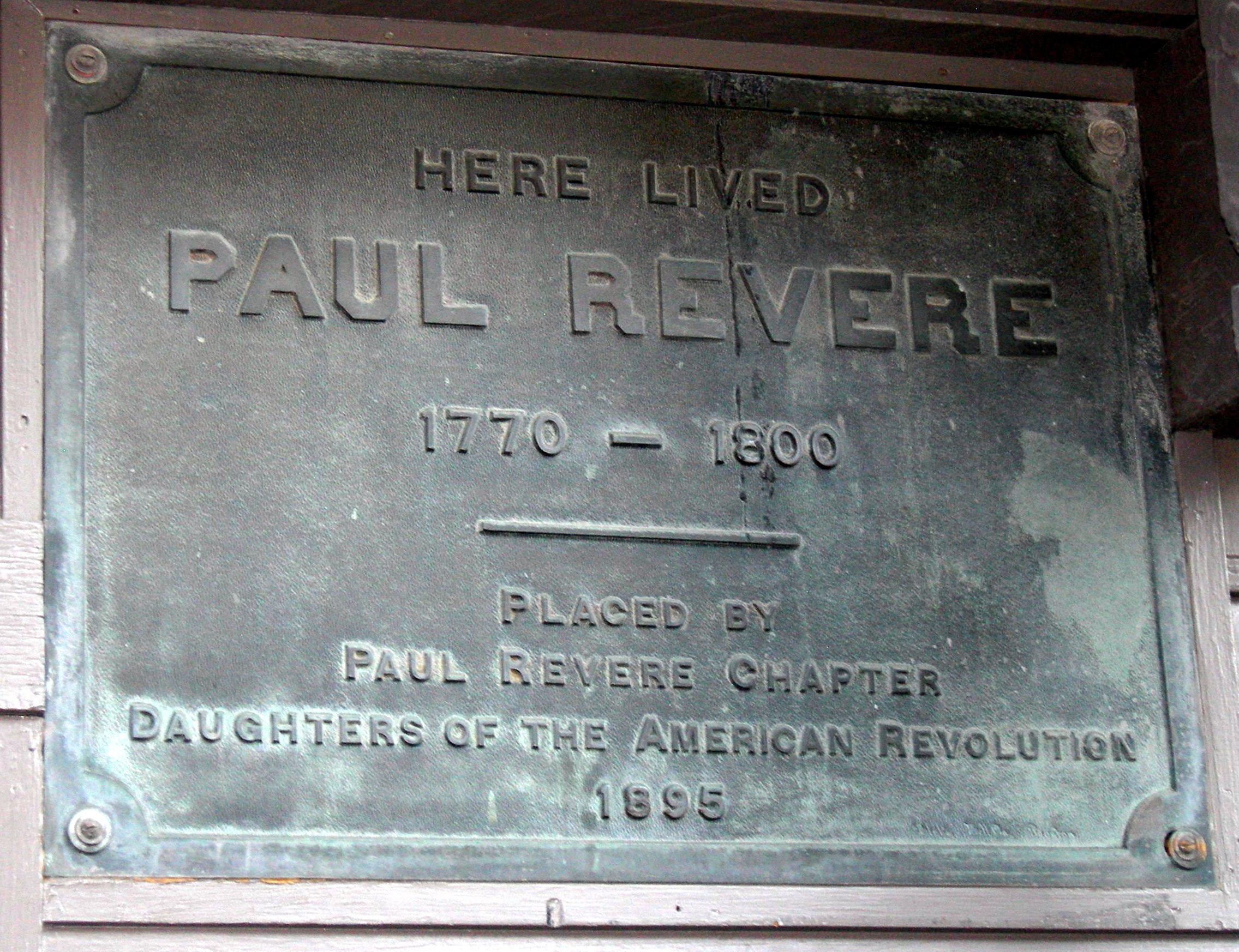 Plaque Outside Paul Revere House
